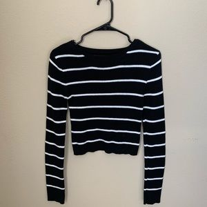 A black and white striped crop top